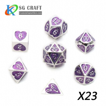 Heart Metal Dice dnd game metal custom dice purple glitter