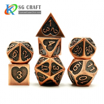 Heart metal archaize dice dnd game metal custom dice