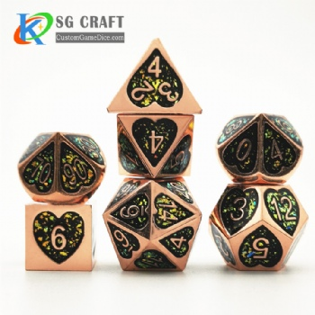 Heart metal dice dnd game metal custom glitter dice