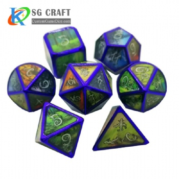 Forest metal dice dnd game metal custom dice