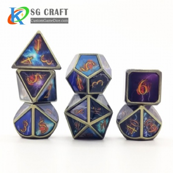 Flashing lightning metal dice dnd game metal custom dice