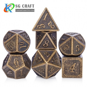 Italic number metal dice dnd game metal custom dice