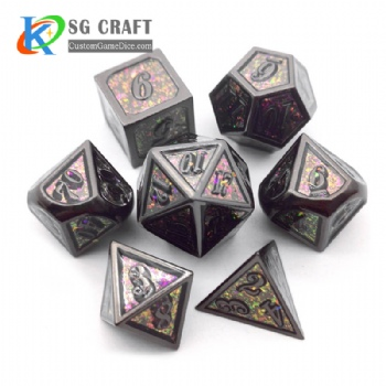 Italic number glitter metal dice dnd game metal custom dice