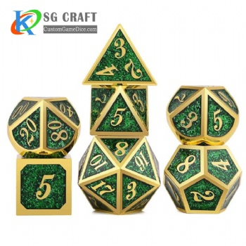 Italic number metal dice dnd game metal custom dice green glitter