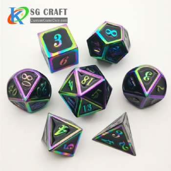 Italic number metal dice dnd game metal custom dice rainbow dice