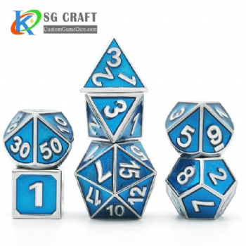 Metal dice dnd game metal custom dice 3D Number Style