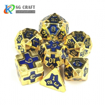 IRON MAN  GOLD METAL DICE SET