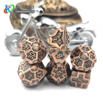 IRON MAN  ANTIQUE COPPER  METAL DICE SET