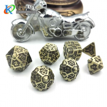 IRON MAN  ANTIQUE BRASS  METAL DICE SET