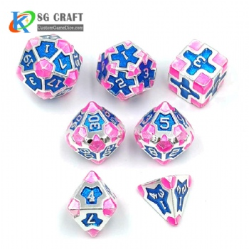 IRON MAN PINK METAL DICE SET
