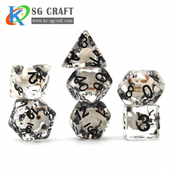 SG8-4 Transparent Skull+Black Bat Halloween Dice Set