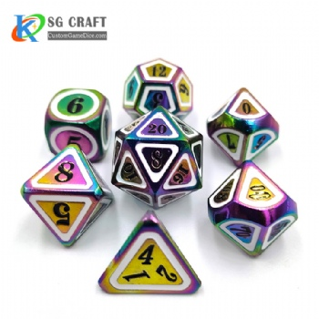 SGHSM2019 Rainbow Plated And White/Black 2 Colors Enamel Metal Dice